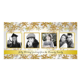 Silver and Gold Family Photo Christmas Card Picture Card