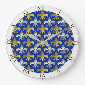 Silver and Gold Fleurs-de-lis on Blue Background Large Clock