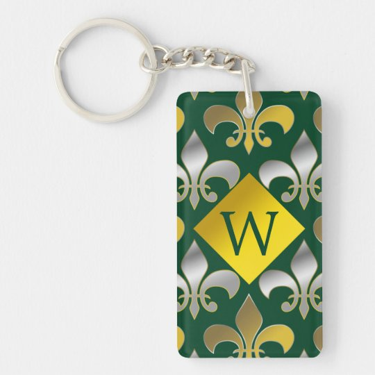 Silver and Gold Fleurs-de-lis on  Green Background Double-Sided Rectangular Acrylic Keychain