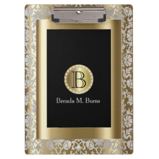 Silver and Gold Floral Monogram Damask Clipboard