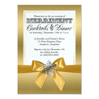 Silver And Gold Holiday Dinner Party Invitations