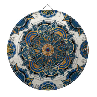 Silver and gold mandala dart boards