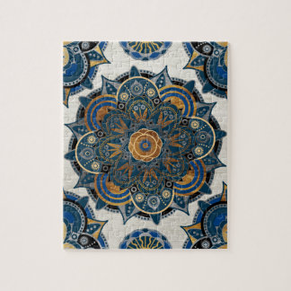 Silver and gold mandala jigsaw puzzle