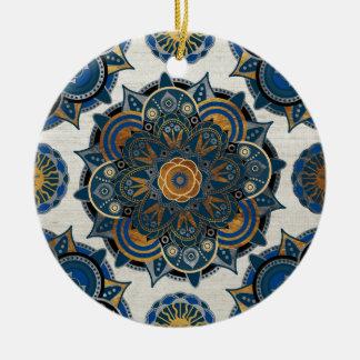 Silver and gold mandala round ceramic ornament