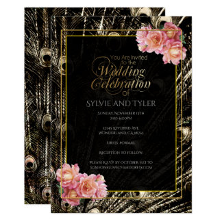Silver and Gold Peacock Feather Pink Roses Card