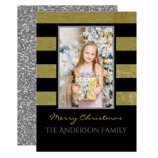 """Silver and Gold Photo Christmas 5"""" X 7"""" Invitation Card"""