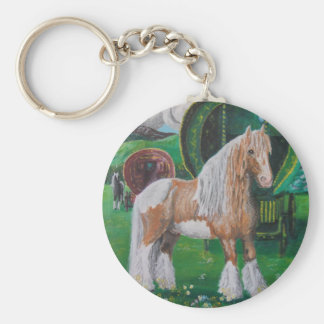 Silver and gold romantic horse and van keychain