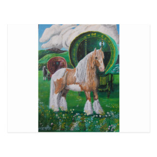 Silver and gold romantic horse and van postcard