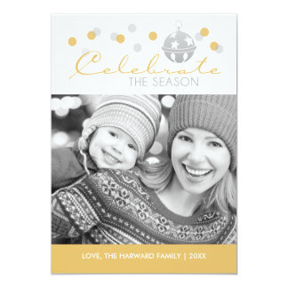 Silver and Gold Sleigh Bell Christmas Photo Card