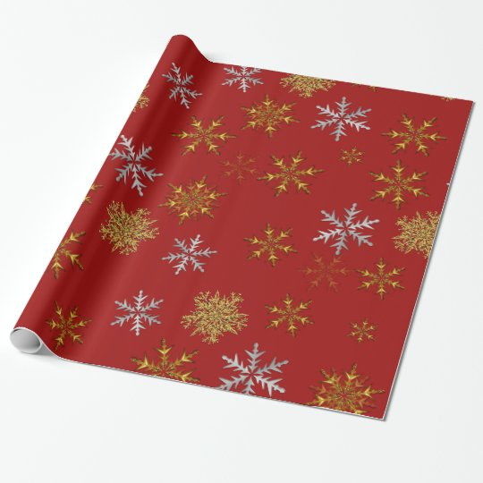 Silver and Gold Snowflakes on Dark Red Christmas