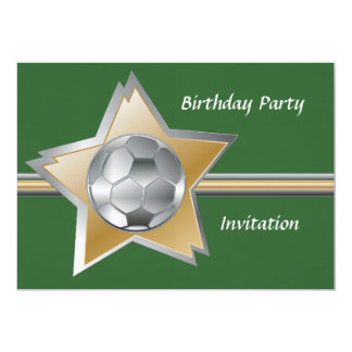"""Silver and gold soccer star linen birthday party 5"""" x 7"""" invitation card"""