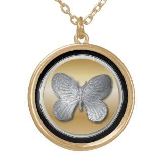 Silver and golden effect butterfly bg2 gold plated necklace