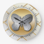 Silver and Golden Effect Butterfly BG5 Large Clock