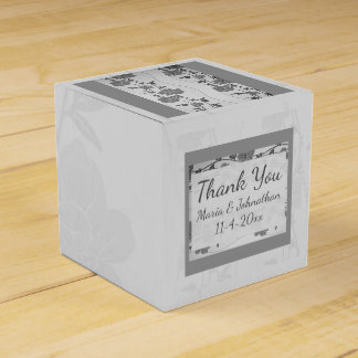Silver and Gray Floral Favor Box