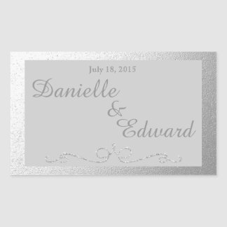 Silver and Gray Foil Wine Label