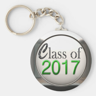 Silver And Green Class Of 2017 Graduation Keychain
