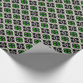 Silver and Green Holiday Bling Wrapping Paper