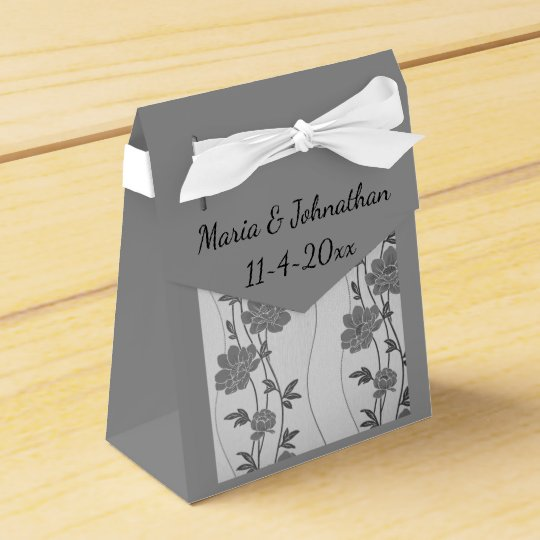 Silver and Grey Floral Favour Box Bag