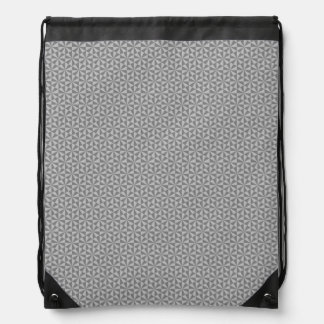Silver and grey triangles pattern cinch bag