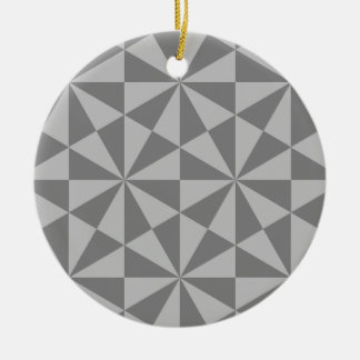 Silver and grey triangles pattern christmas ornament