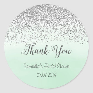 Silver and Mint Bridal Shower Sticker