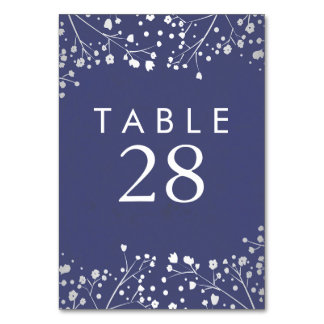Silver and Navy Baby's Breath Wedding Table Number
