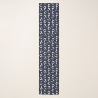 Silver and Navy Blue Anchor Nautical Scarf