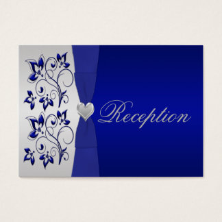 Silver and Navy Floral Enclosure Card