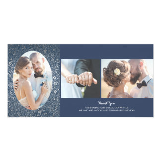 Silver and Navy Floral Photo Wedding Thank You Photo Greeting Card