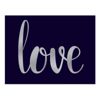 Silver and navy love postcards