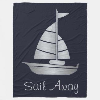 Silver and Navy Sail Away Fleece Sailboat Blanket
