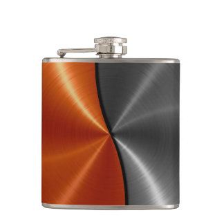 Silver and Orange Metallic Steel Metal 2 Hip Flask
