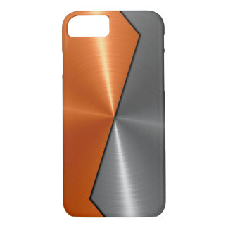 Silver and Orange Stainless Steel Metal 5 iPhone 7 Case