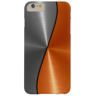 Silver and Orange Stainless Steel Metal Barely There iPhone 6 Plus Case