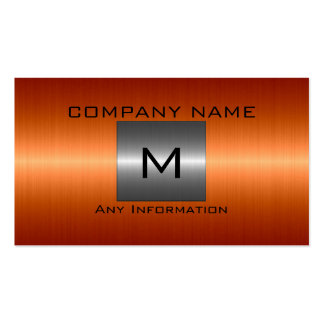 Silver and Orange Stainless Steel Metal Business Card Templates