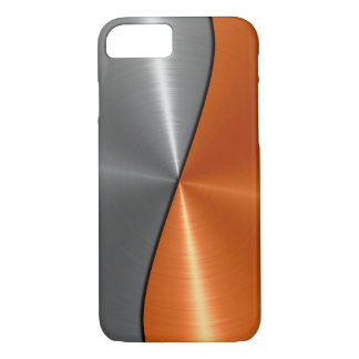 Silver and Orange Stainless Steel Metal iPhone 7 Case