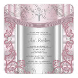 "Silver and Pink Baby Girl Christening 5.25"" Square Invitation Card"