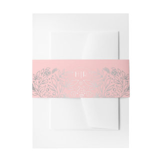 Silver and Pink Floral Garden Bouquet Monogram Invitation Belly Band