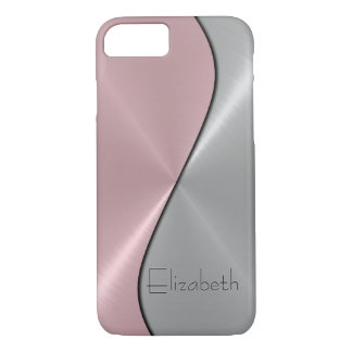 Silver and Pink Stainless Steel Metal iPhone 7 Case