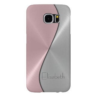 Silver and Pink Stainless Steel Metal Samsung Galaxy S6 Cases