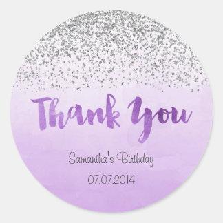 Silver and Purple Birthday Sticker