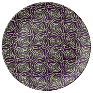 Silver And Purple Celtic Spiral Knots Pattern Porcelain Plates
