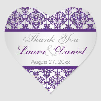Silver and Purple Damask Wedding Favor Sticker