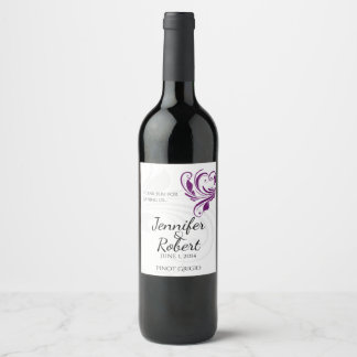 Silver and Purple Floral Heart Wine Label
