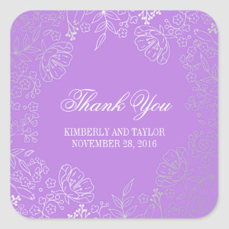 Silver and Purple Floral Vintage Wedding Thank You Square Sticker