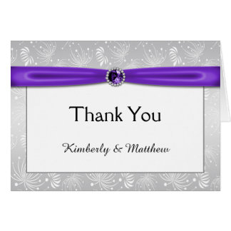 Silver and Purple Ribbon Gemstones Thank You Card