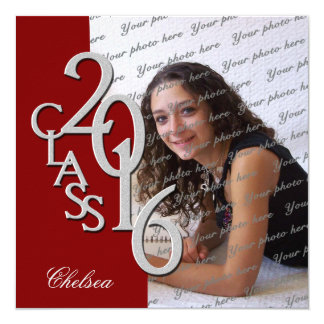 Silver and Red 2016 Photo Graduation Invitation