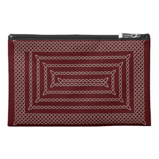 Silver And Red Celtic Rectangular Spiral Travel Accessory Bags