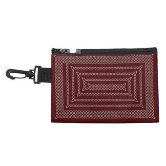 Silver And Red Celtic Rectangular Spiral Accessories Bag