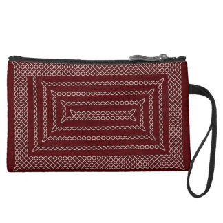 Silver And Red Celtic Rectangular Spiral Wristlet Clutch